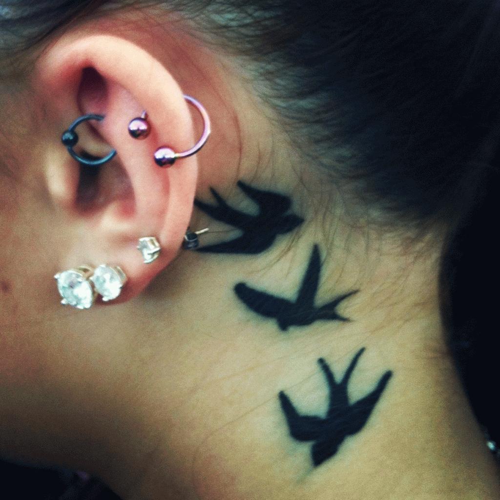 Black Three Birds Tattoo On Behind The Ear regarding proportions 1024 X 1024