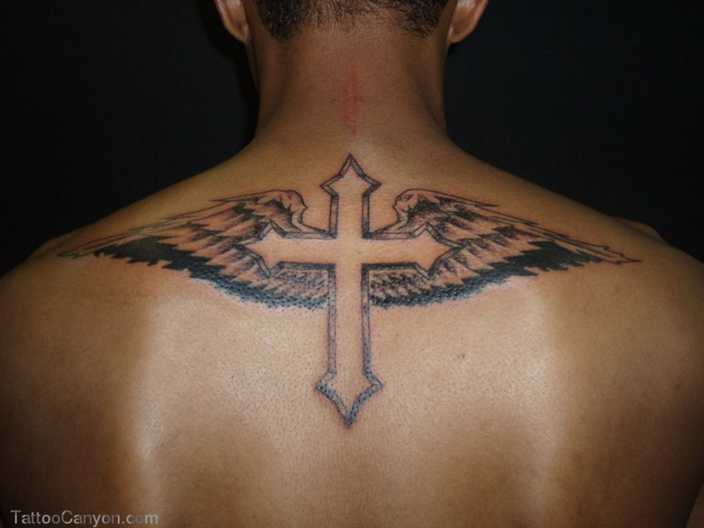 Cross Tattoos For Men With Wings On Back Body Canvas Cross throughout size 1024 X 768