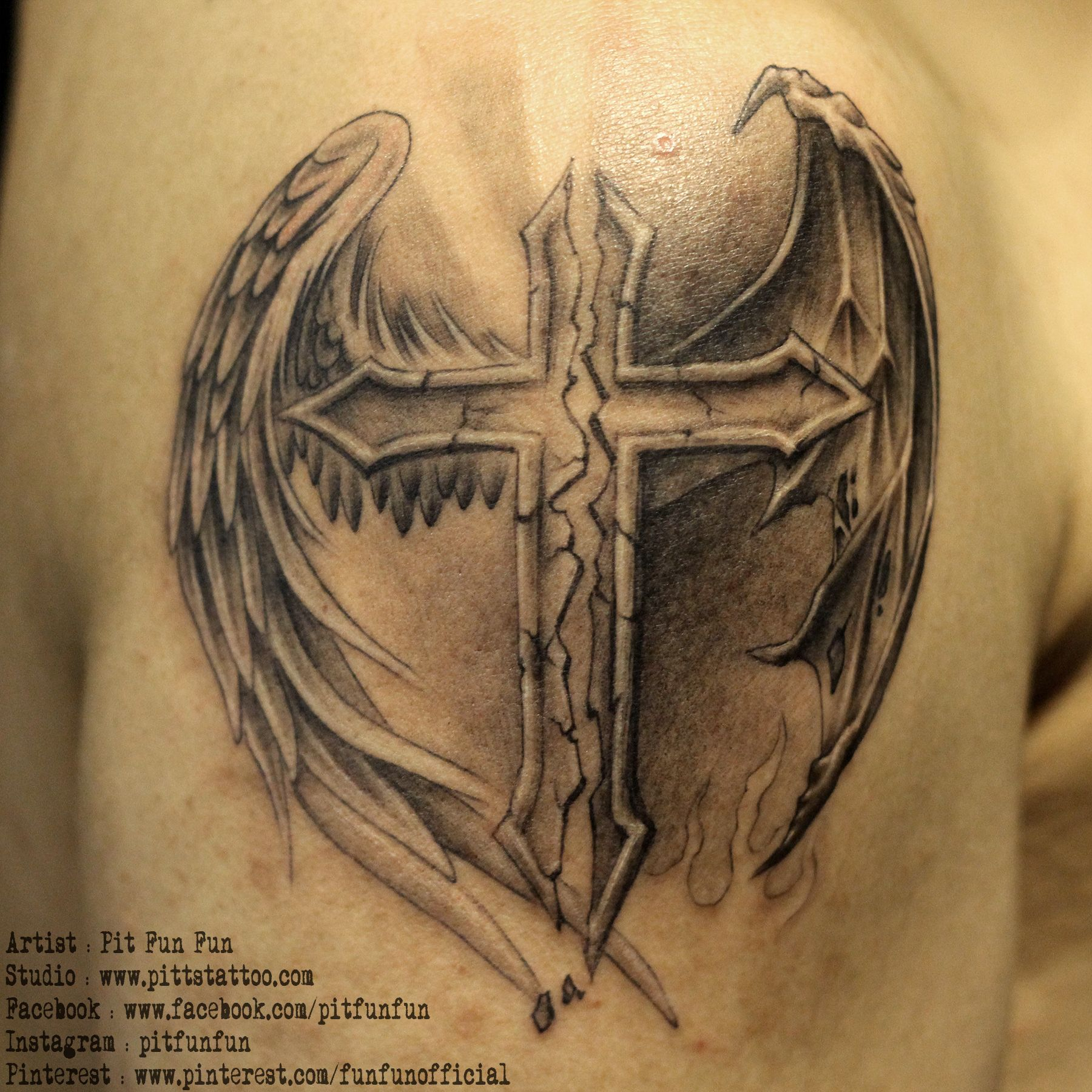 Cross With Angel And Demon Wings Wwwpittstattoo Facebook pertaining to proportions 1800 X 1800