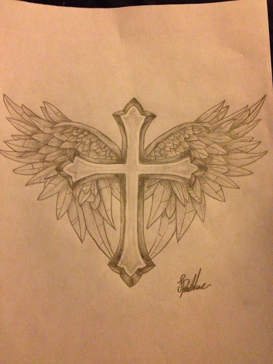 Cross With Wings Tattoo Design Protxticsdeviantart On with regard to sizing 900 X 1200