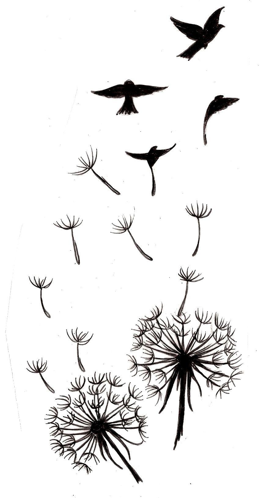 Dandelion With Bird Silhouettes Tattoo 3 Metacharis On in size 867 X 1626