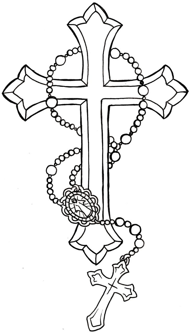 Download Free Black Cross With Rosary Cross Tattoo Stencil regarding size 736 X 1278