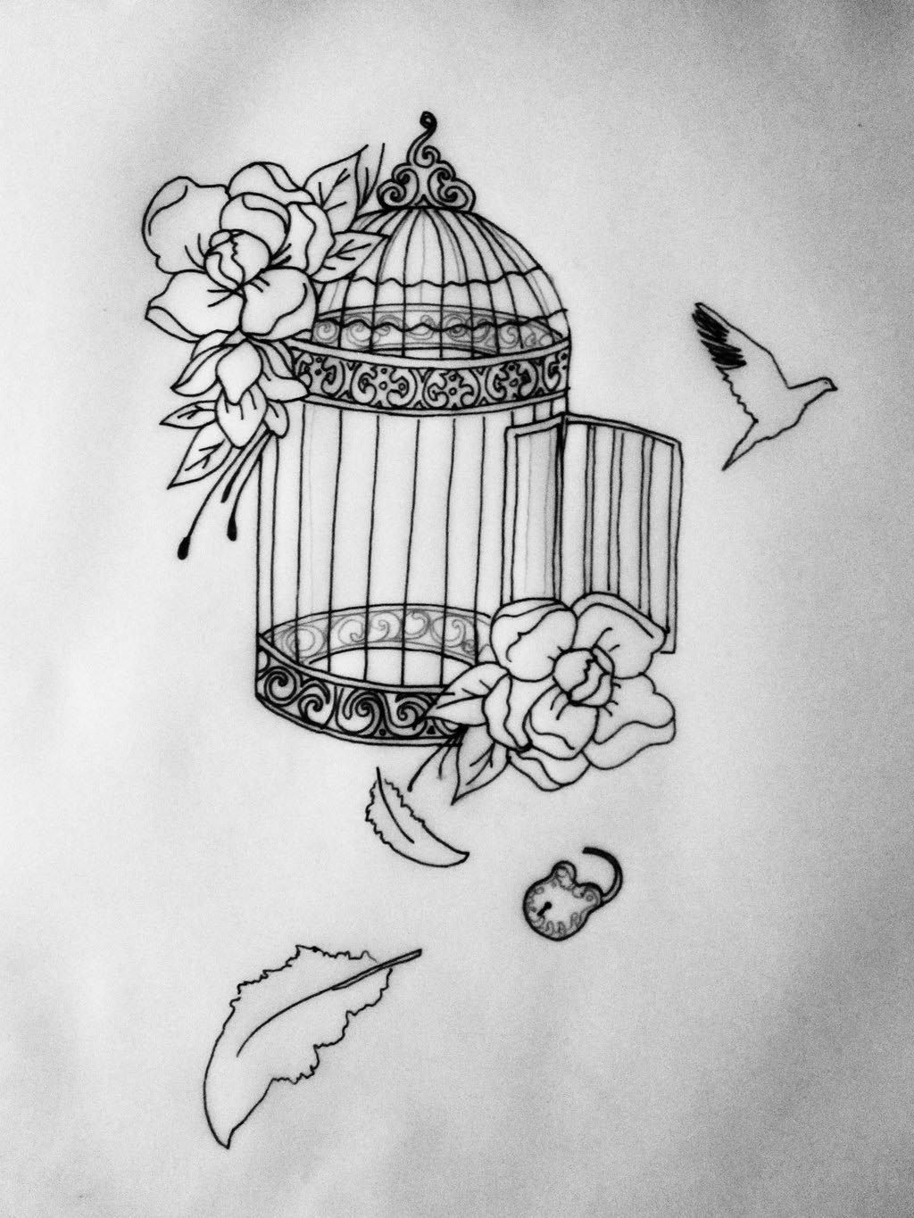 Drawings Of Bird Cages Bird Cages Cage Tattoos Tattoos Tattoo in proportions 1024 X 1365