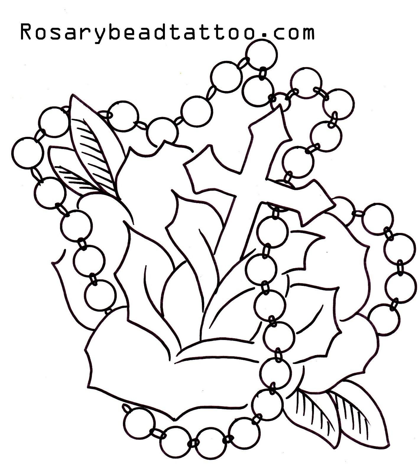 Flower With Roseary Stencils Rosary Tattoocross Tattoo Design inside dimensions 1421 X 1610