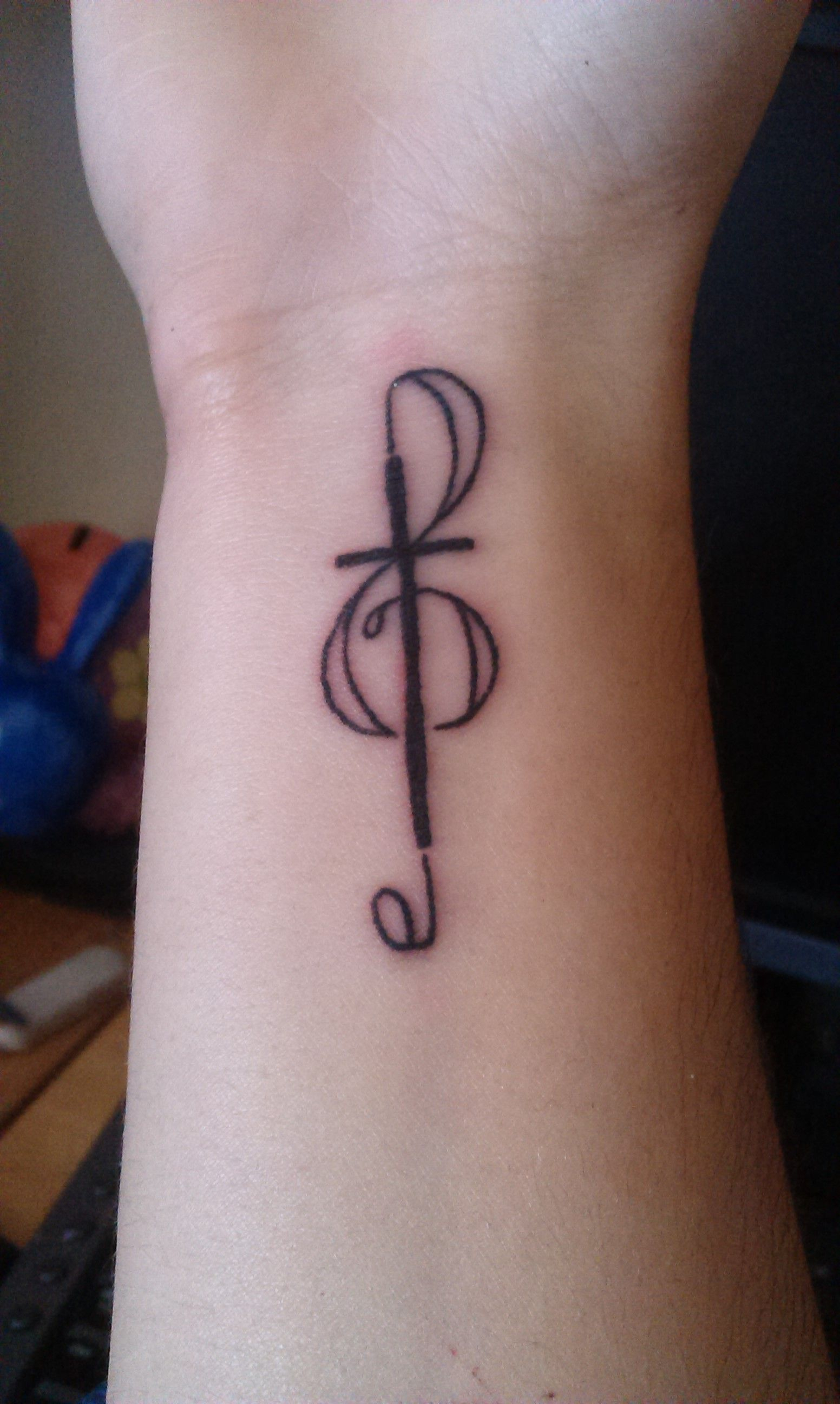 My Tattoo Mix Of A Music Note And A Cross To Represent Music And for proportions 1552 X 2592