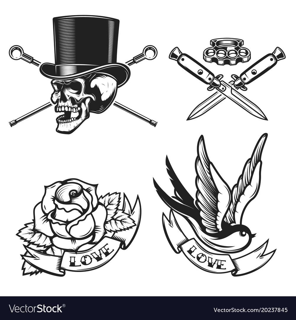 Old School Tattoo Emblems Swallow Bird Skull In Vector Image regarding measurements 1000 X 1080