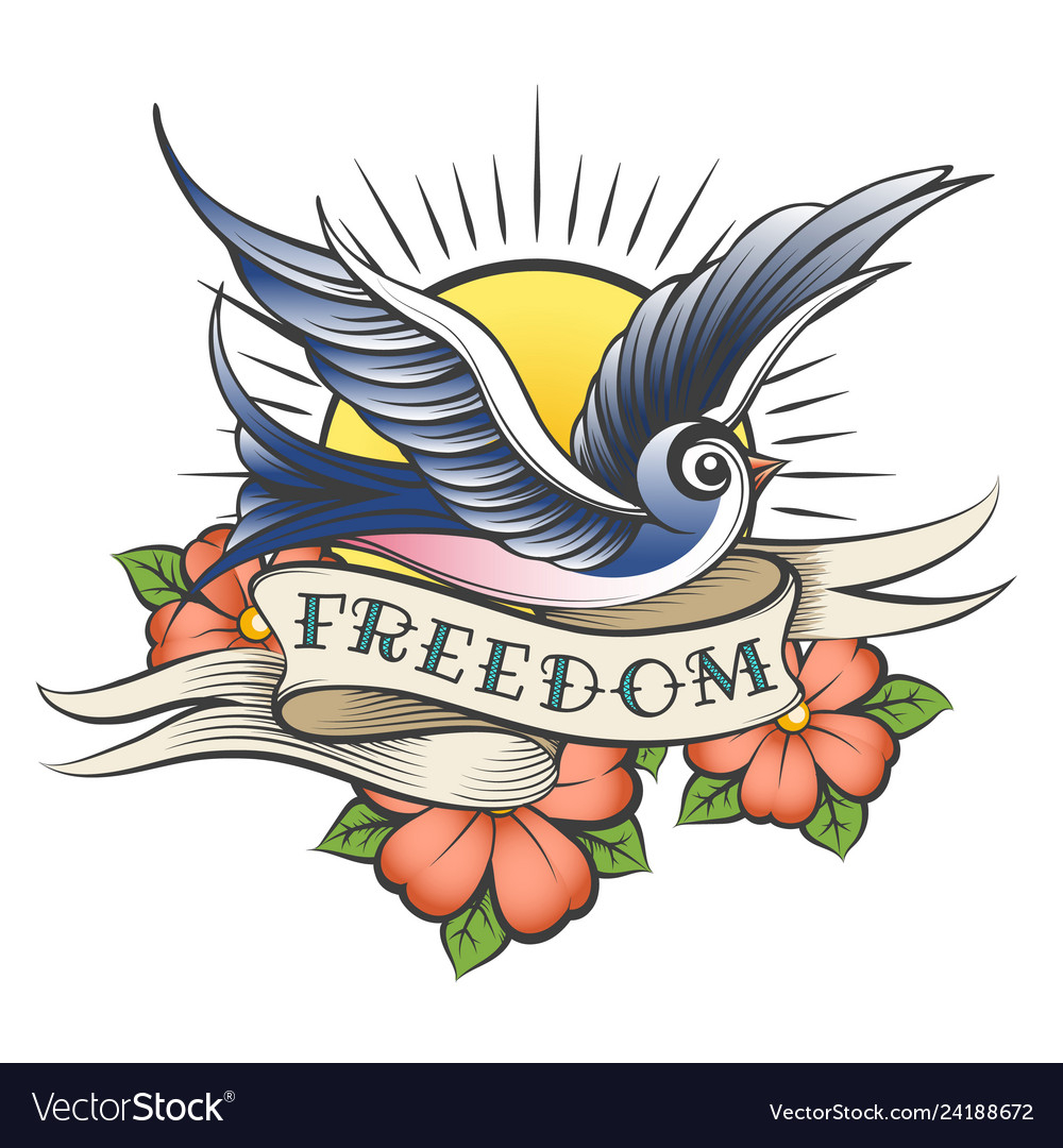 Old School Tattoo With Bird And Wording Freedom Vector Image throughout proportions 1000 X 1080