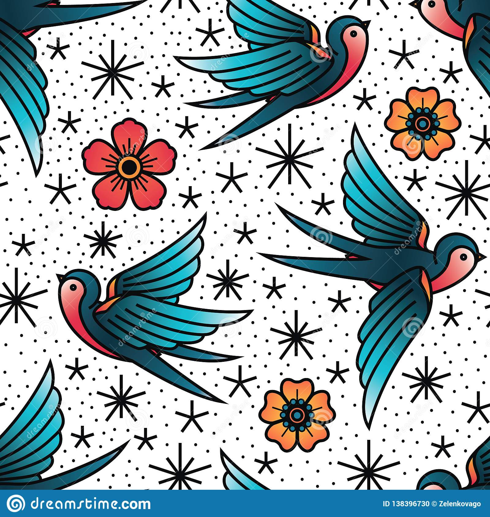 Oldschool Traditional Tattoo Vector Birds And Flowers Pattern Stock inside proportions 1600 X 1689