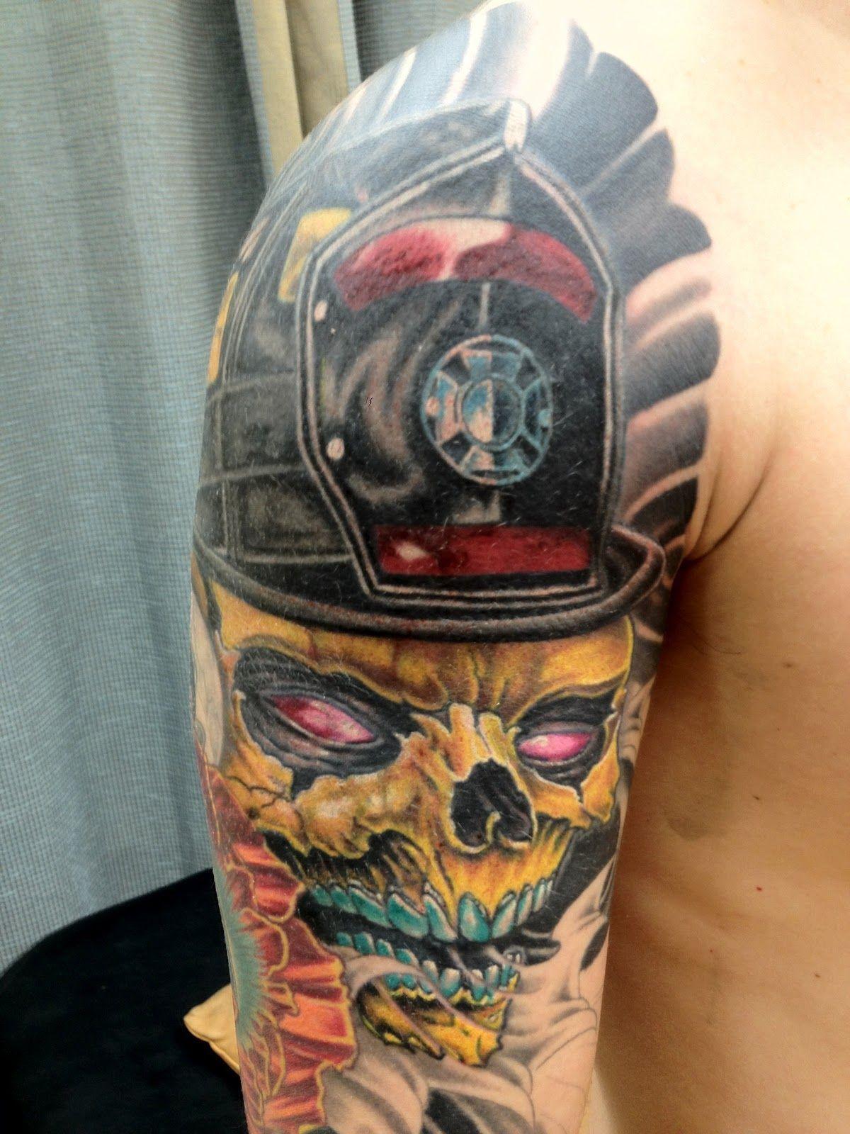 Sick Firefighting Tats Skull Tattoos Half Sleeve Tattoo within size 1200 X 1600