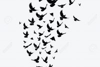 Silhouette Of A Flock Of Birds Black Contours Of Flying Birds with size 1300 X 1300