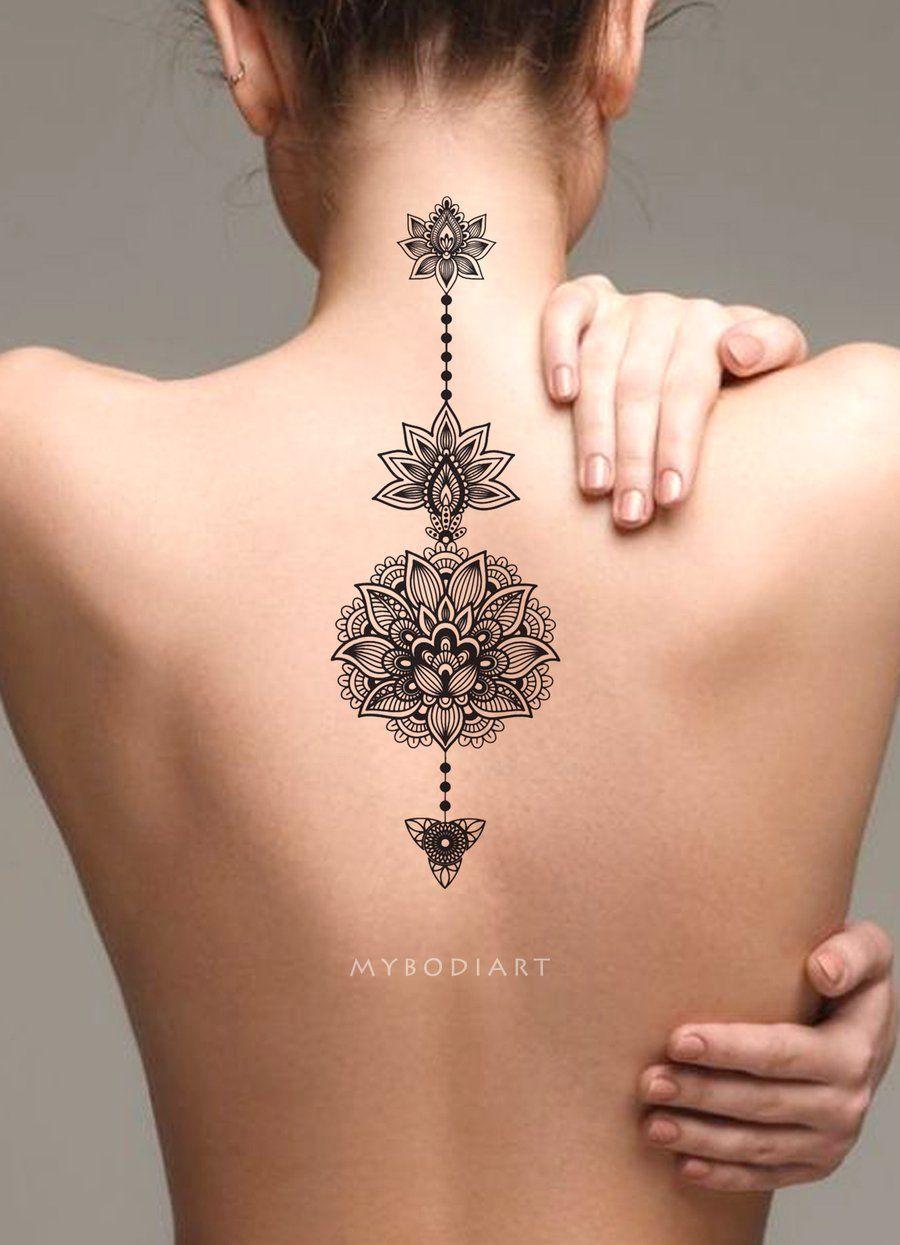 Tribal Boho Black Lotus Mandala Spine Back Tattoo Ideas For Women in measurements 900 X 1245