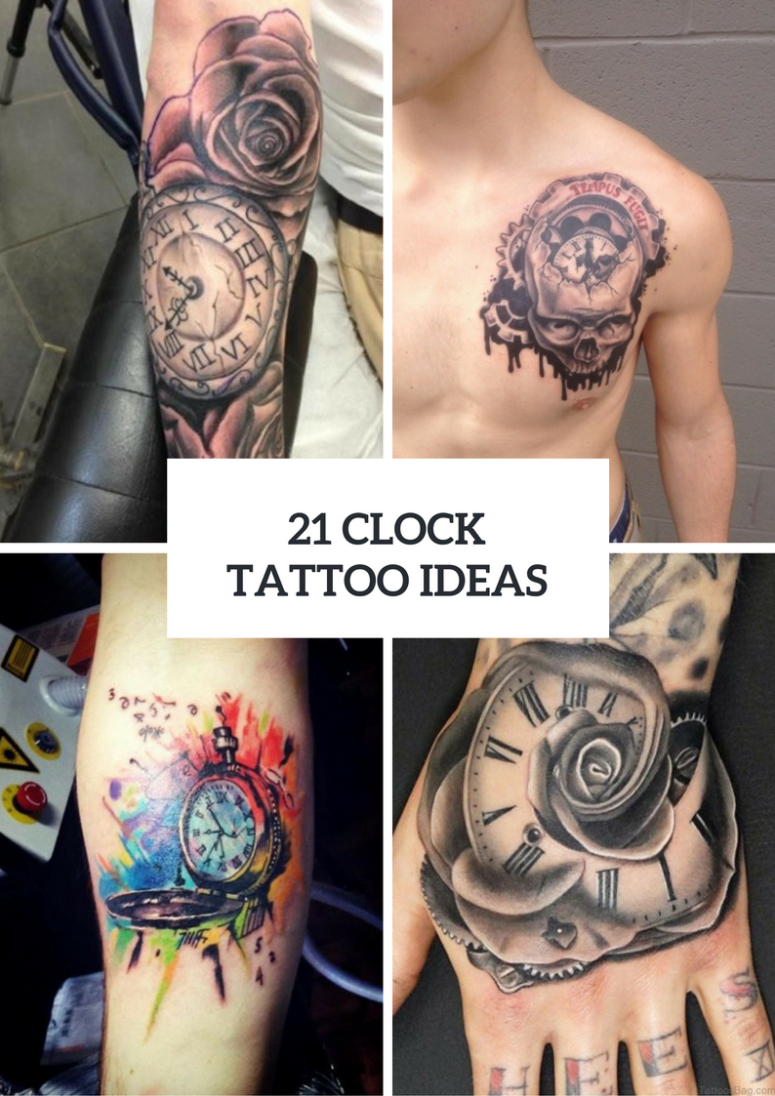 21 Gorgeous Clock Tattoo Ideas For Men Styleoholic with regard to proportions 775 X 1096