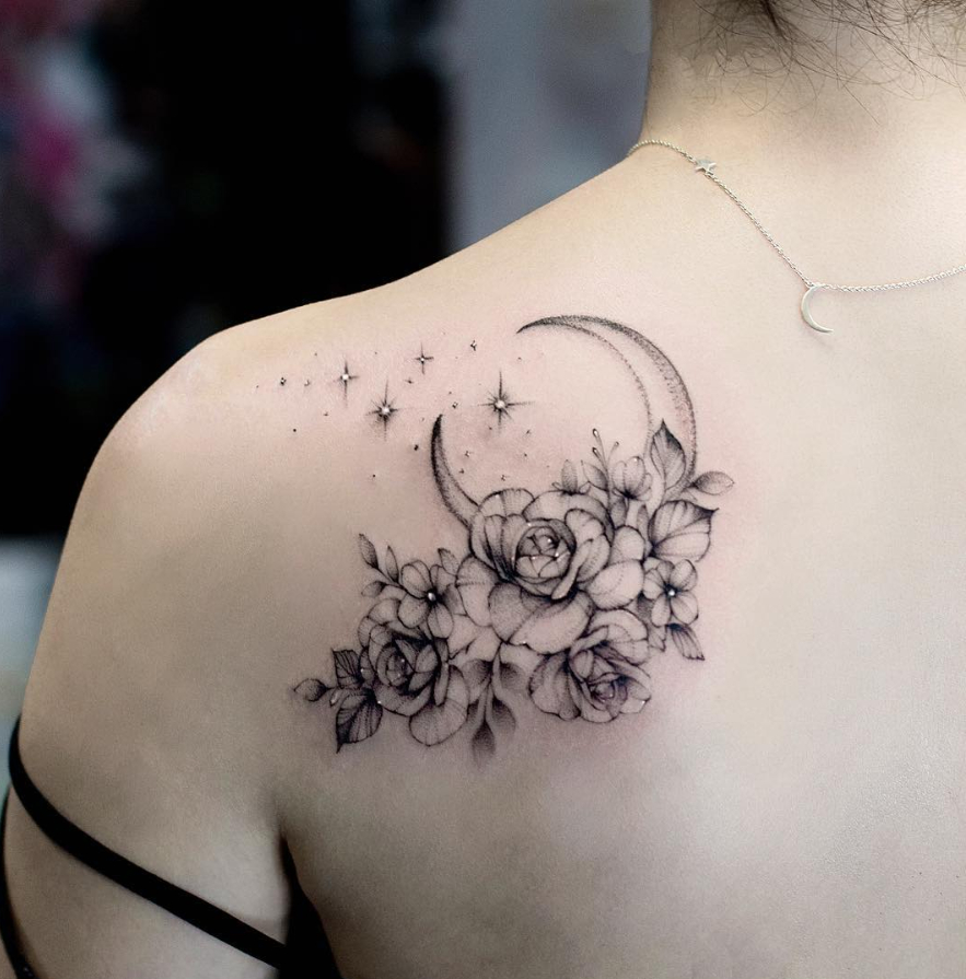 26 Awesome Floral Shoulder Tattoo Design Ideas For Woman throughout measurements 883 X 895