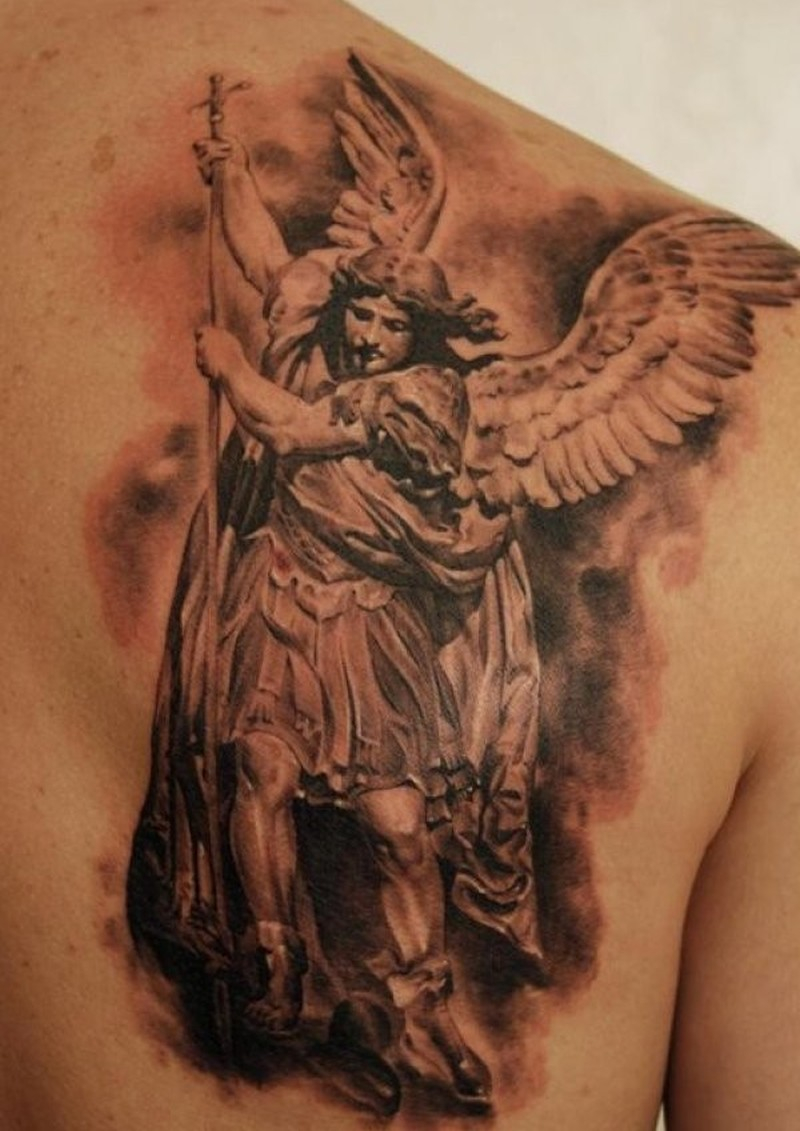 Angel With Spear Tattoo On Shoulder Blade Tattoos Book 65000 in proportions 800 X 1131
