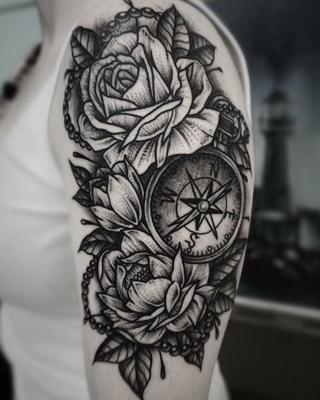 Arm Blackwork Flowers Shoulder Tattoo Slave To The Needle with regard to measurements 1121 X 1400