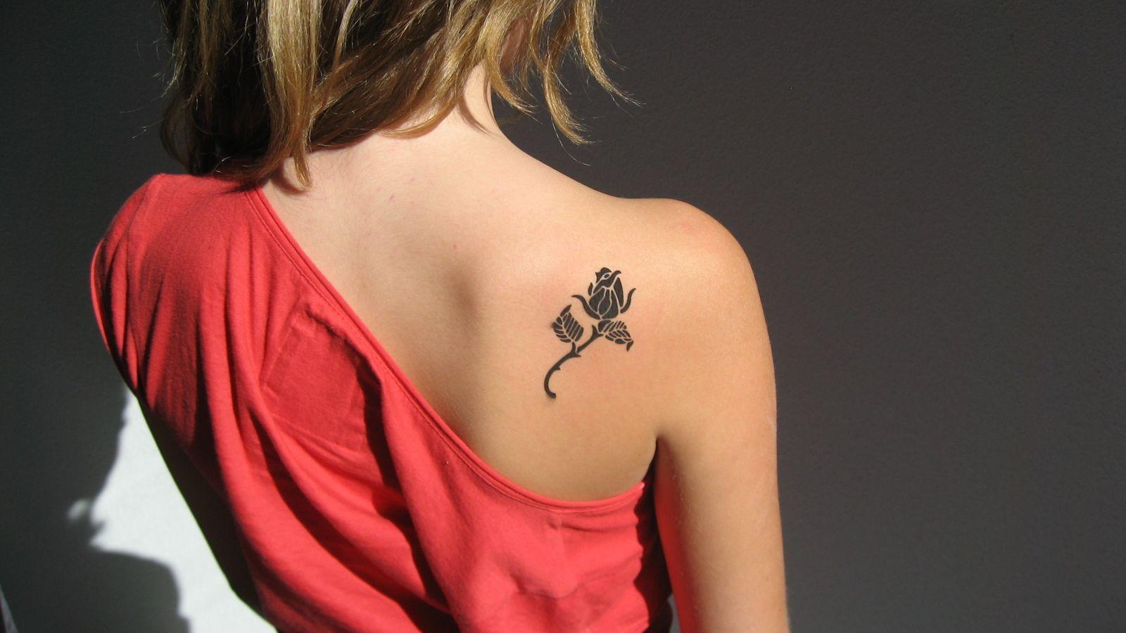 Back Shoulder Black Small Flower Tattoos Designs Tattoos regarding size 1600 X 900