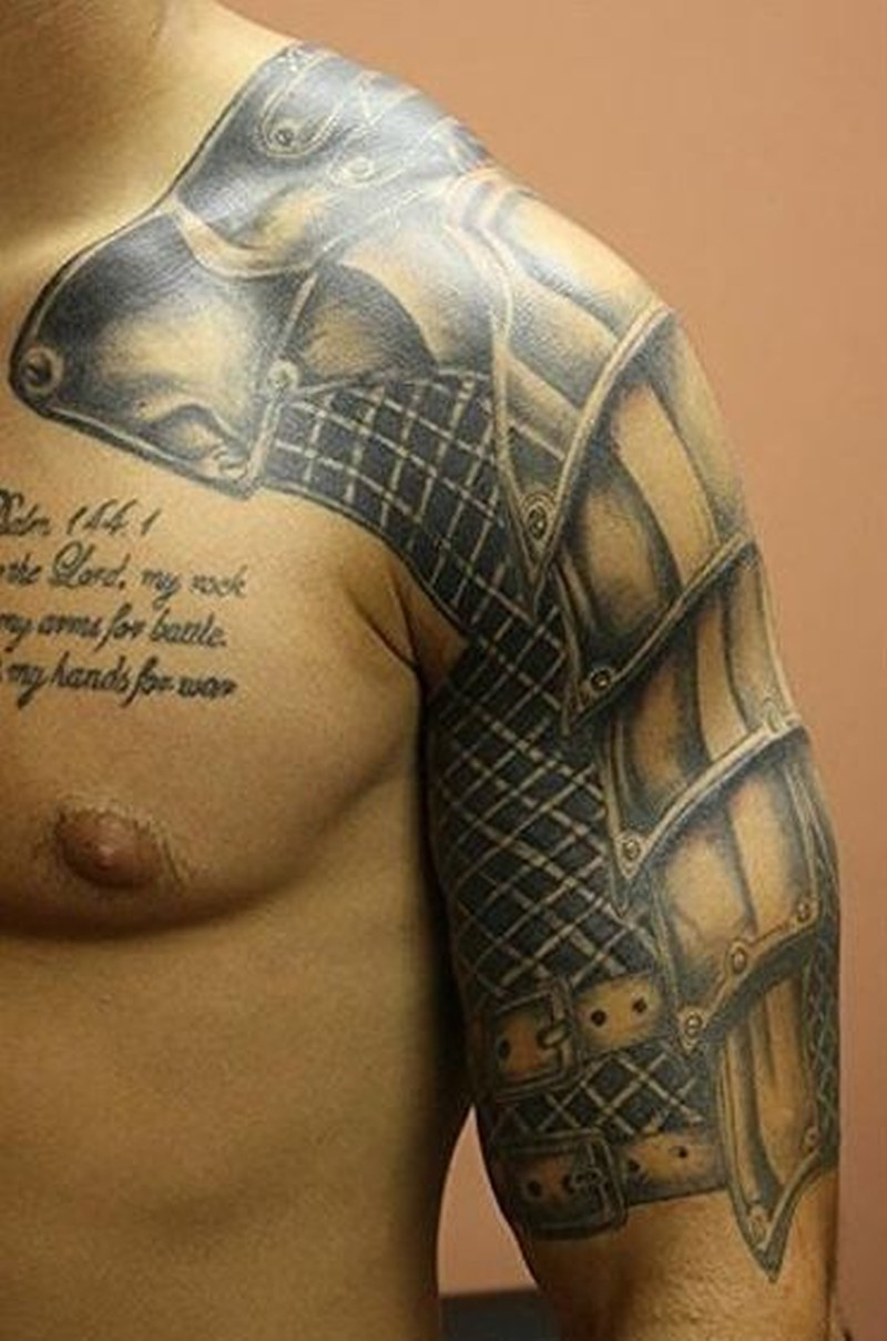 Beautiful Realistic Armor Tattoo On Shoulder Tattoos Book 65000 pertaining to sizing 800 X 1209