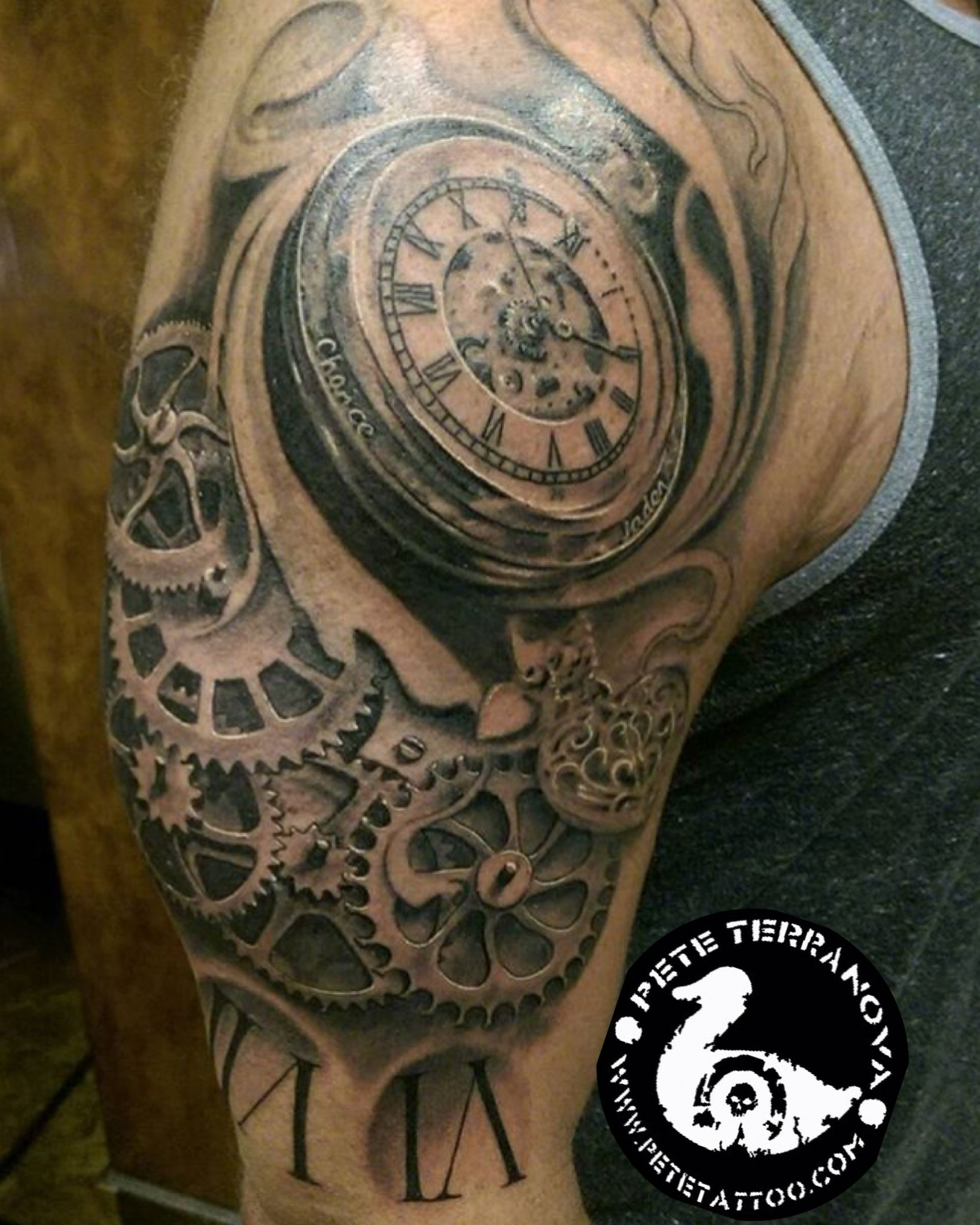 Black And Gray Clock And Gears Tattoo Custom Tattoos Gear Tattoo with size 1638 X 2048
