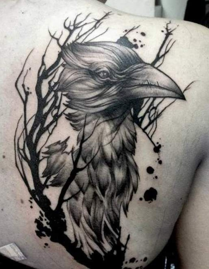 Black Crows And Tree Branch Tattoo On Shoulder Blade Tattoos Book pertaining to proportions 800 X 1033