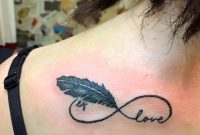 Black Feather Love Infinity Tattoo On Back Shoulder intended for proportions 1080 X 1064