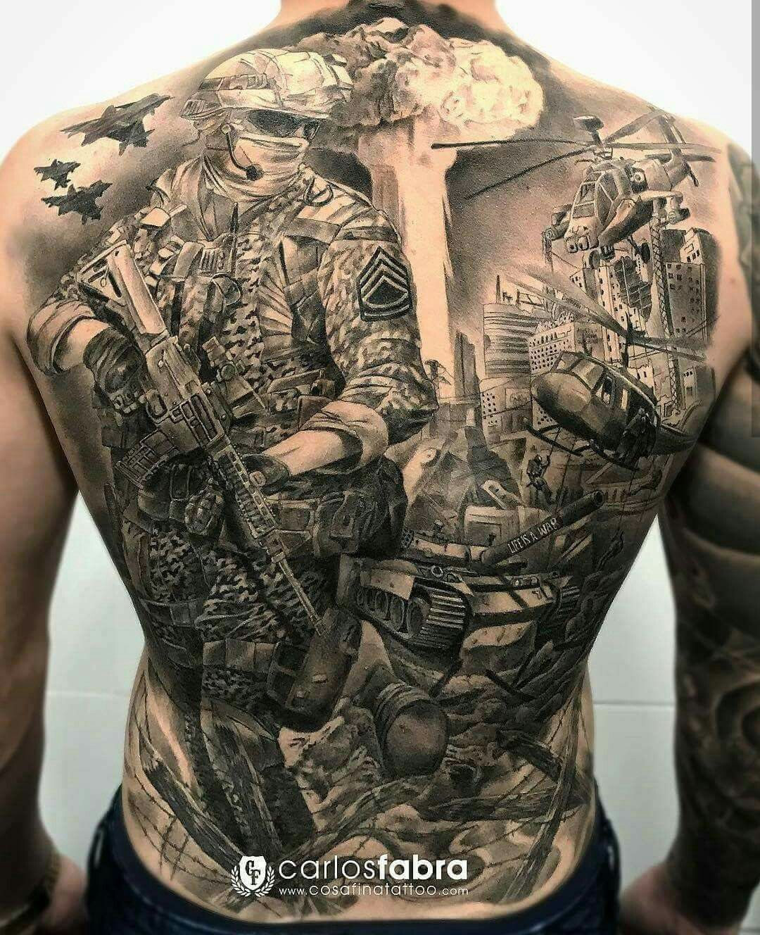 Combat Soldier Back Tattoo Tattoos Military Tattoos Army with regard to proportions 1080 X 1328