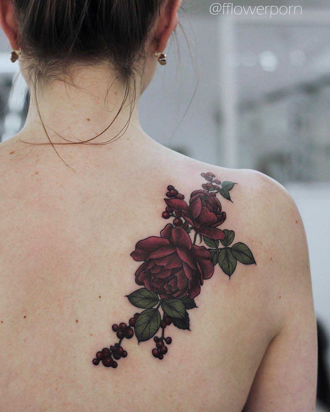 Dark Red Roses Tattoo On Shoulder Blade Body Art Shoulder Tattoo intended for size 1080 X 1349