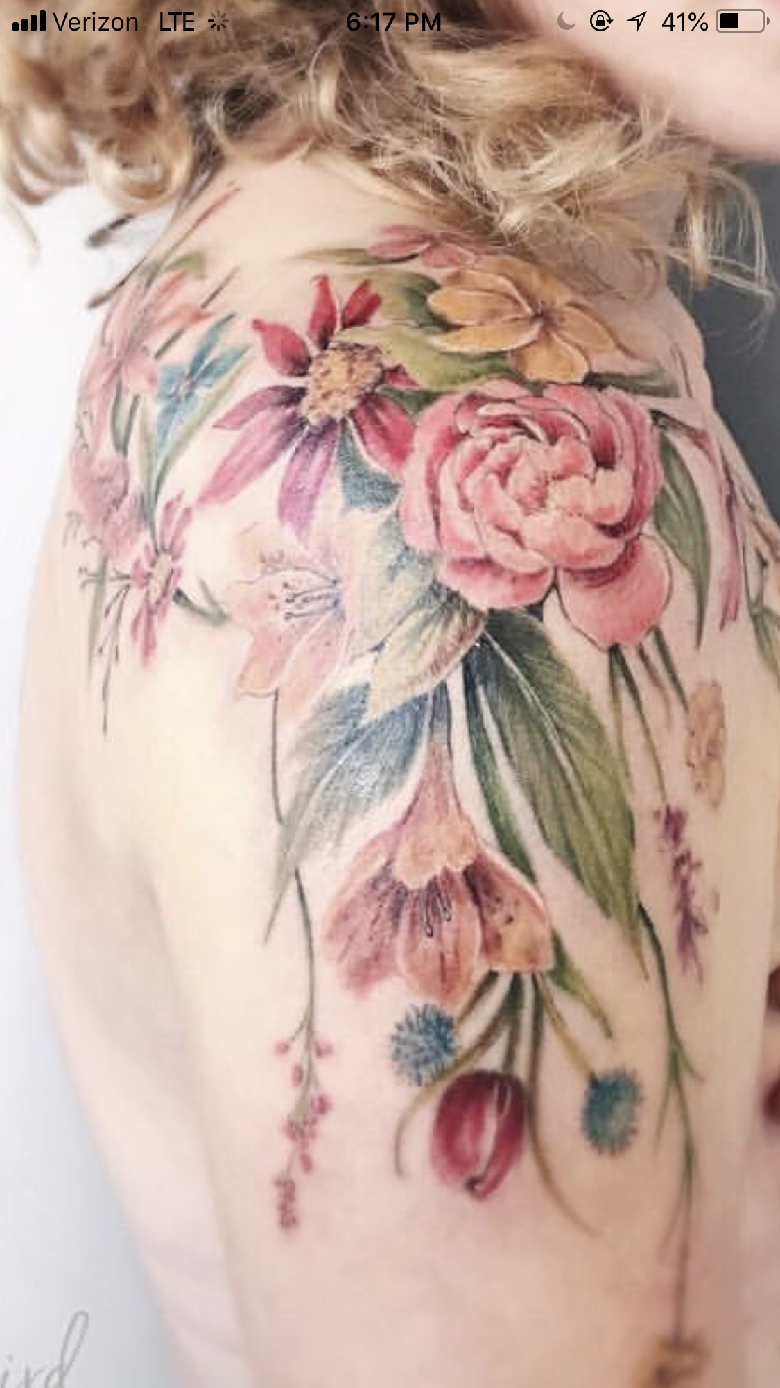 Floral Bouquet On Shoulder Running Down Upper Arm 3 Maybe Without intended for proportions 1125 X 2001