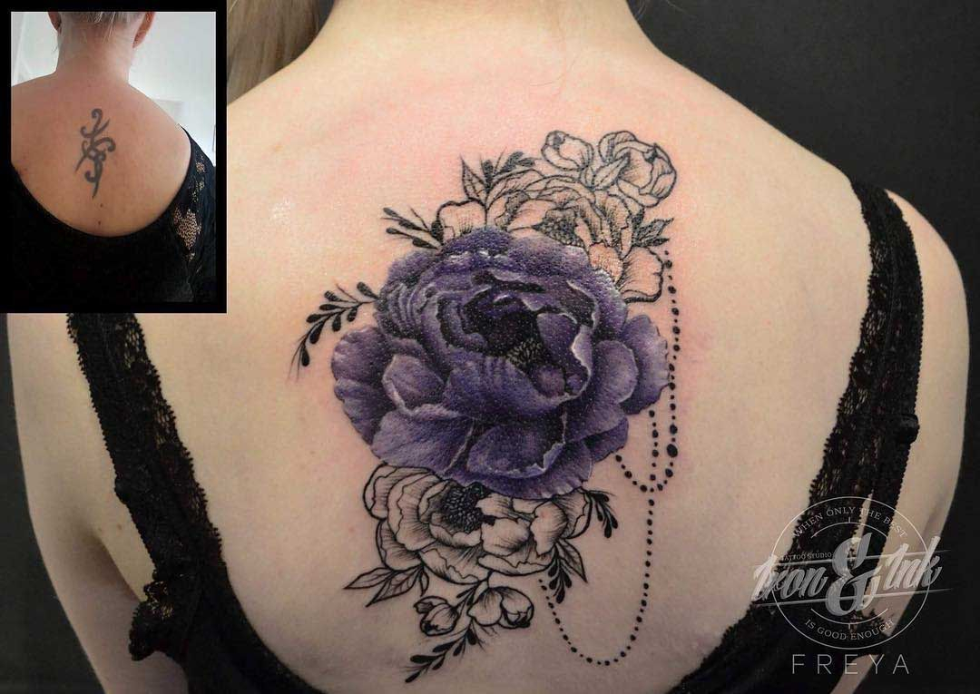 Flowers Tattoo Cover Up On Back Back Tattoos Cover Tattoo Cover inside sizing 1080 X 765