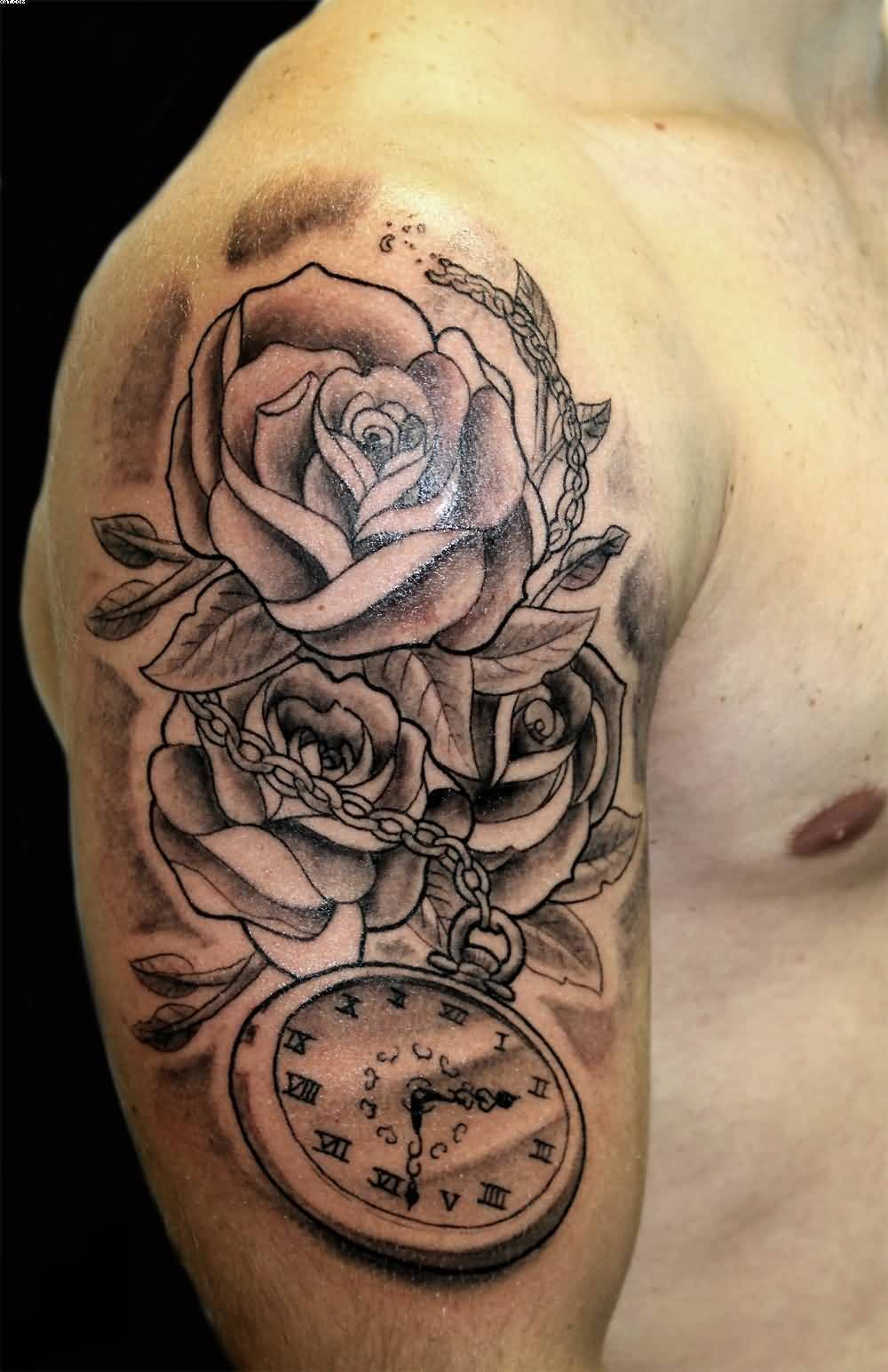 Grey Roses And Clock Tattoo On Man Right Half Sleeve Tatoo Upper within sizing 1000 X 1544