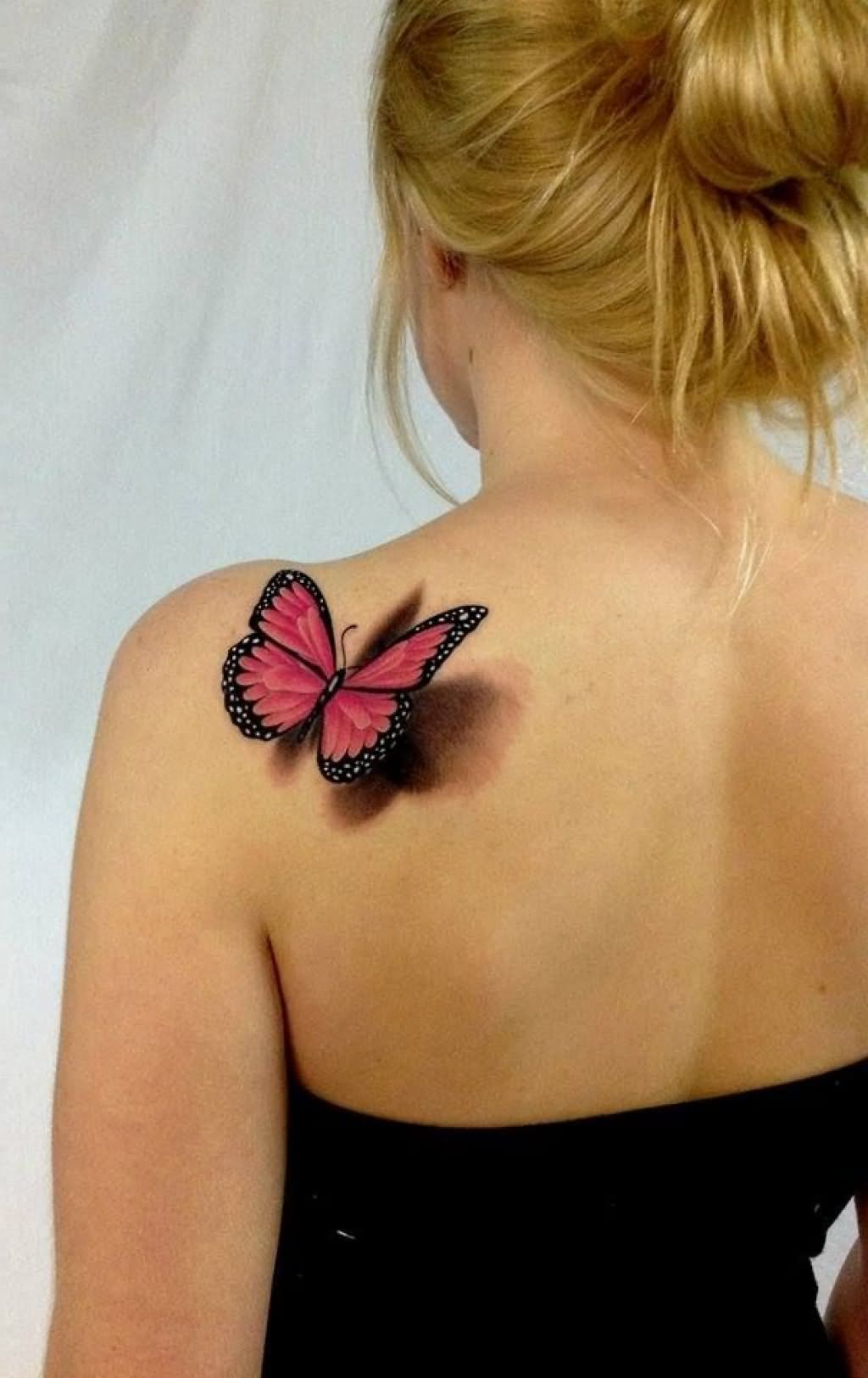 Incredible 3d Red Butterfly Tattoo On Back Shoulder Leika with sizing 1024 X 1624