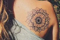 Mandala Sunflower Black And White Back Shoulder Tattoo Ideas At throughout size 1264 X 1500