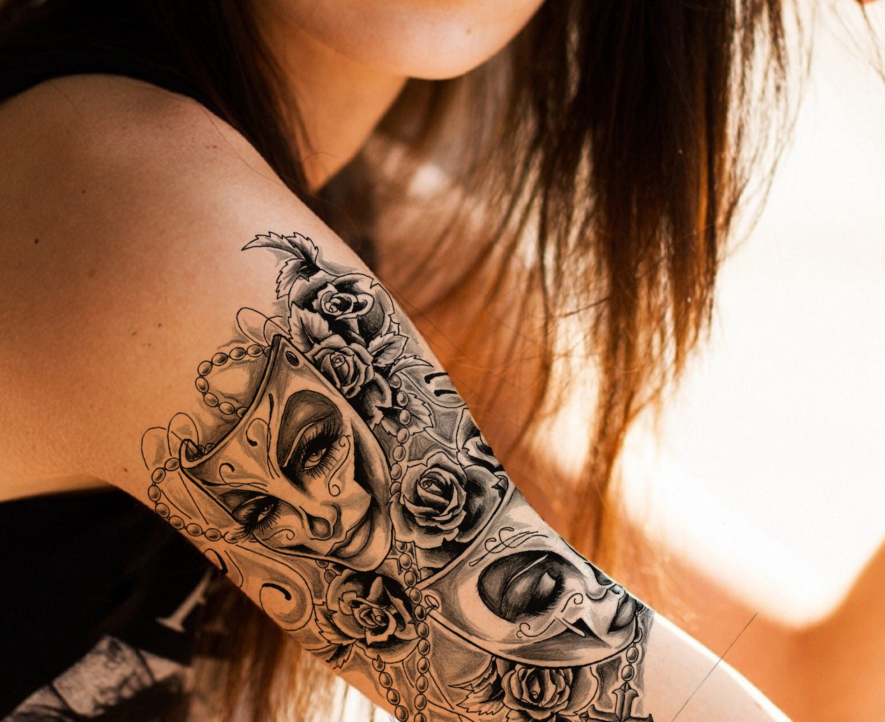 Mask With Roses Tattoo For Girl On Right Shoulder Tattoo throughout sizing 1268 X 1034