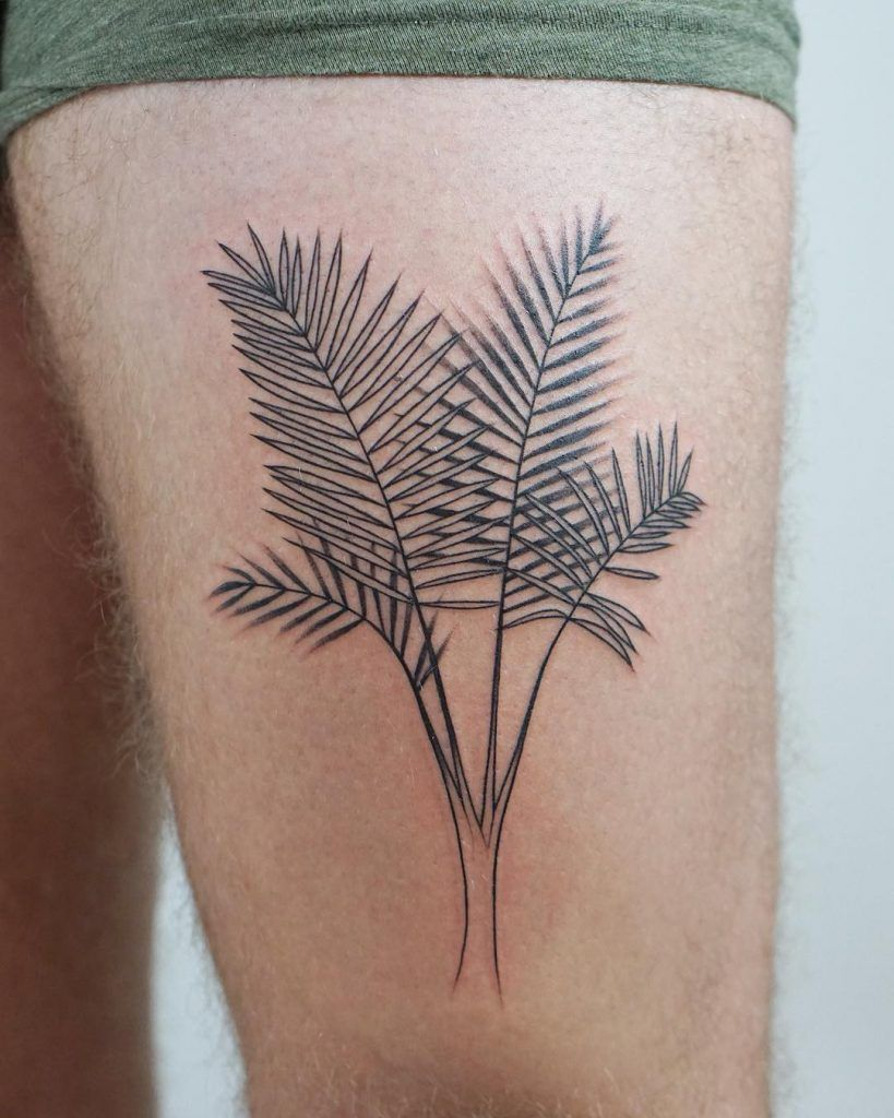 Palm Branches Tattoo On The Left Upper Thigh Thigh Tattoos in size 819 X 1024