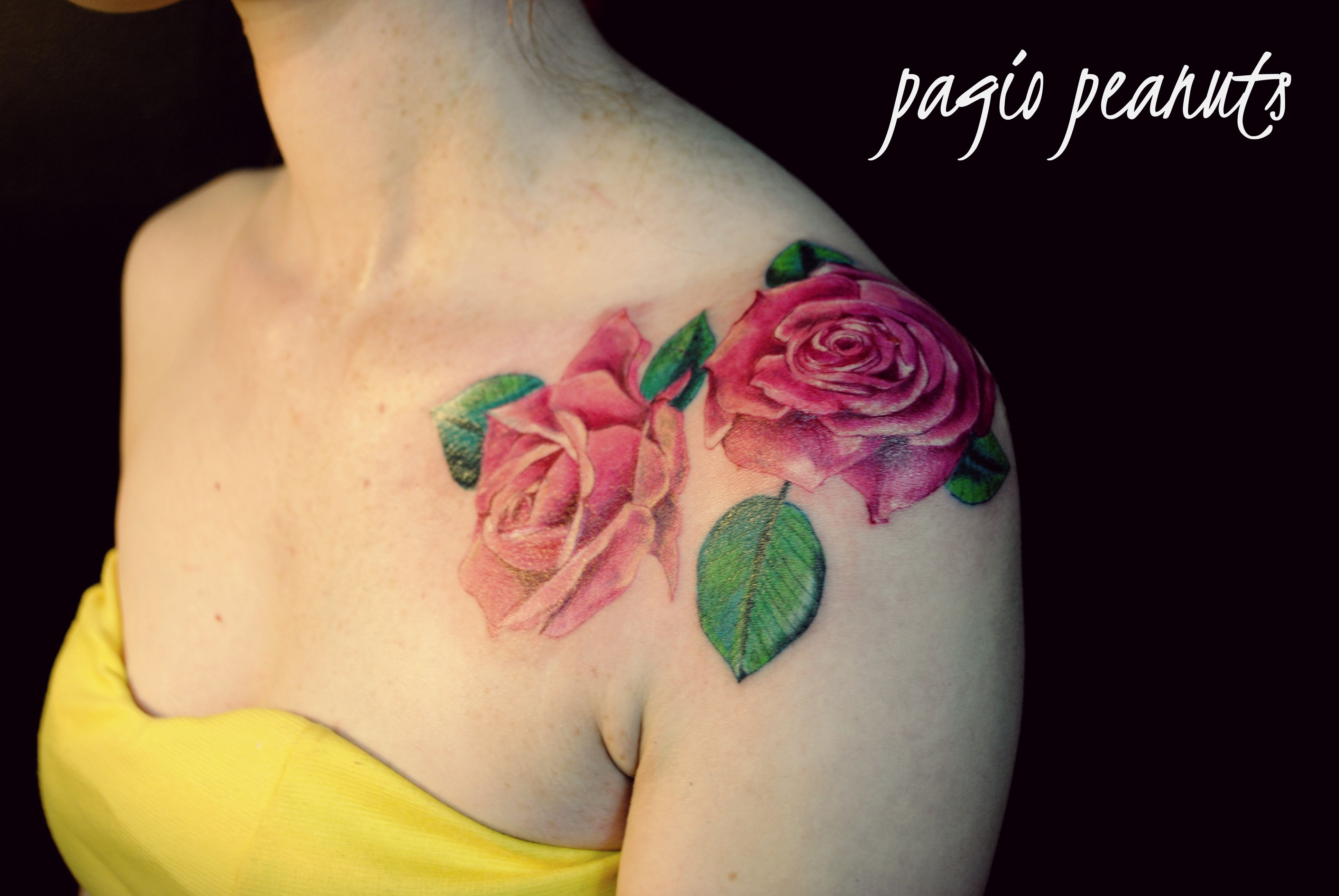 Realistic Pink Roses Tattoo Shoulder Tattoos Shoulder Tattoo in sizing 3872 X 2592