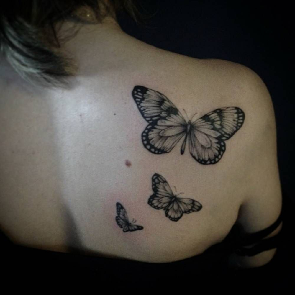 Shoulder Blade Tattoo Of Three Butterflies Ivy Saruzi throughout size 1000 X 1000