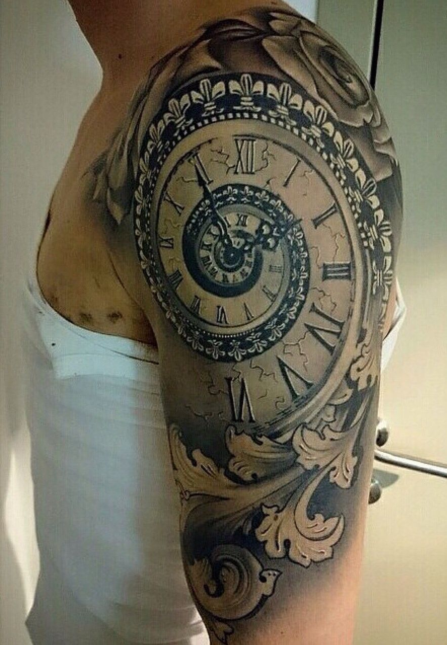 Spiral Time Clock Shoulder Tattoo Tattoo Ideas Tattoos within sizing 883 X 1272