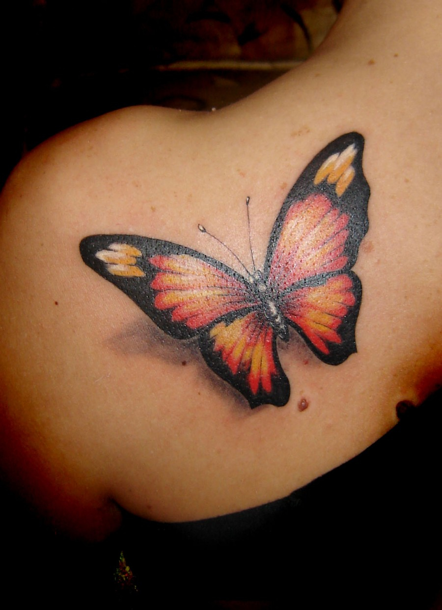 Very Beautiful Life Like Butterfly Shoulder Tattoo Designs For Women intended for dimensions 900 X 1242