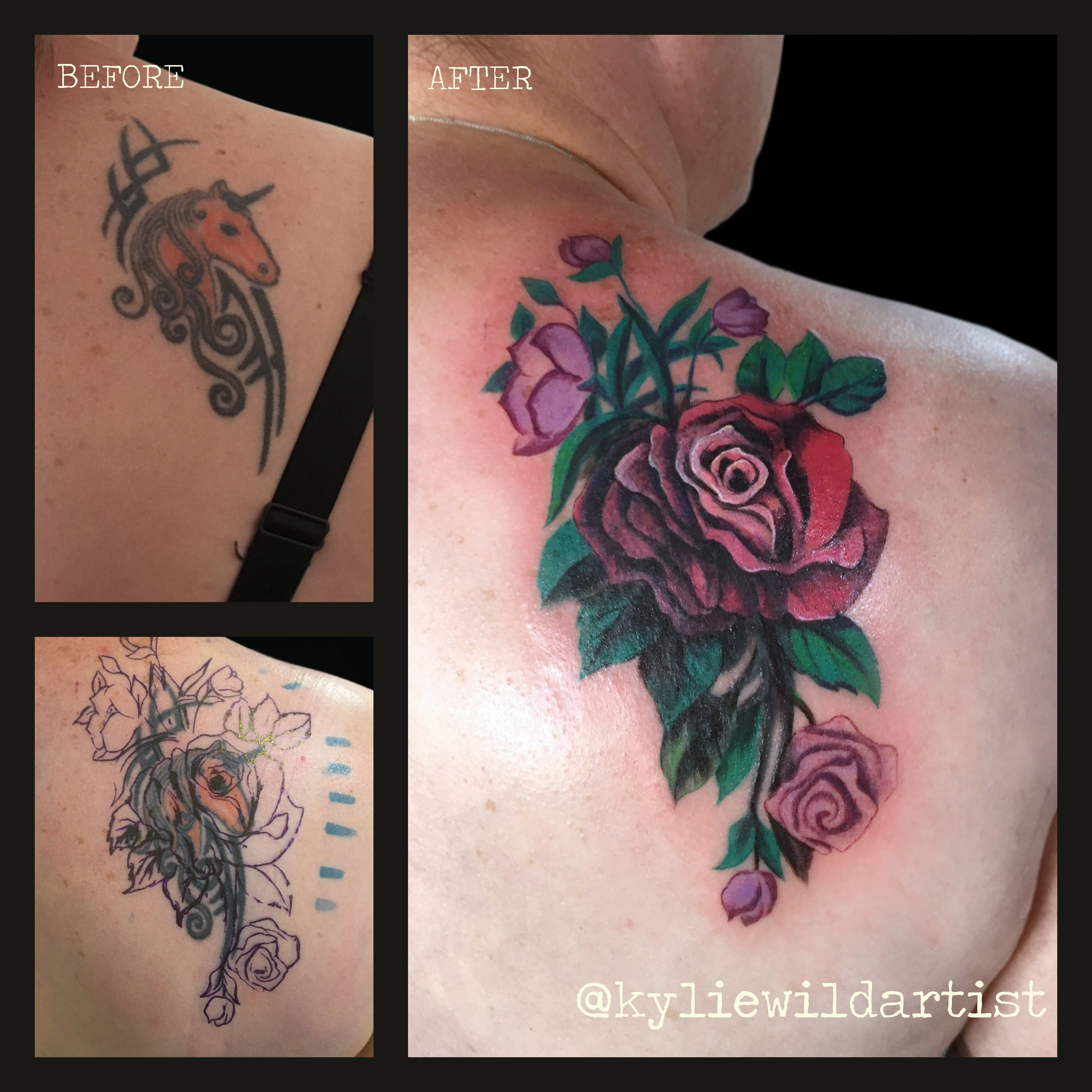 Very Tricky Old Tattoo Of Unicorn Cover Up Red And Pink Roses for size 5120 X 5120